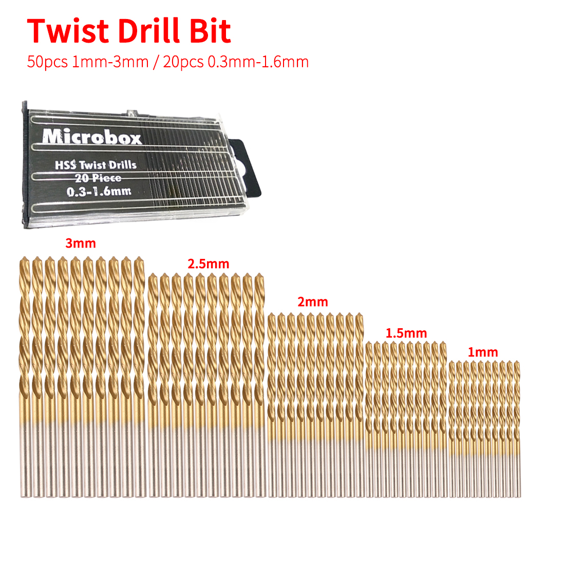 Twist Drill Bit 50pcs 1/1.5/2/2.5/3mm Titanium Coated HSS Twist Drill Bit Set Tool Woodworking Tools For Plastic Metal Wood