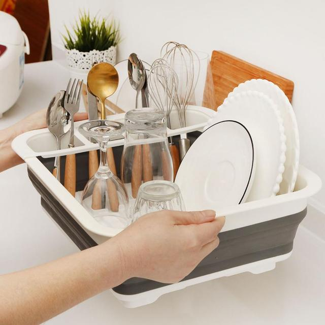 Foldable Dish Rack Kitchen Drainer Tool Bowl Tableware Plate Storage Organizer Holder Portable Fold Drying Home TPR Rack Shelf 5