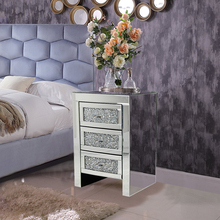 Mirrored Glass 3 Drawer Bedside Table Diamante Crystal Cabinet Night-Stands UK