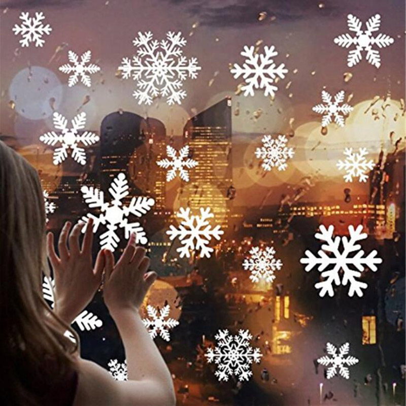 27Pcs Christmas Snowflake Window Sticker Christmas Wall Stickers Room Wall Decals Christmas Decorations for Home New Year 2021 3