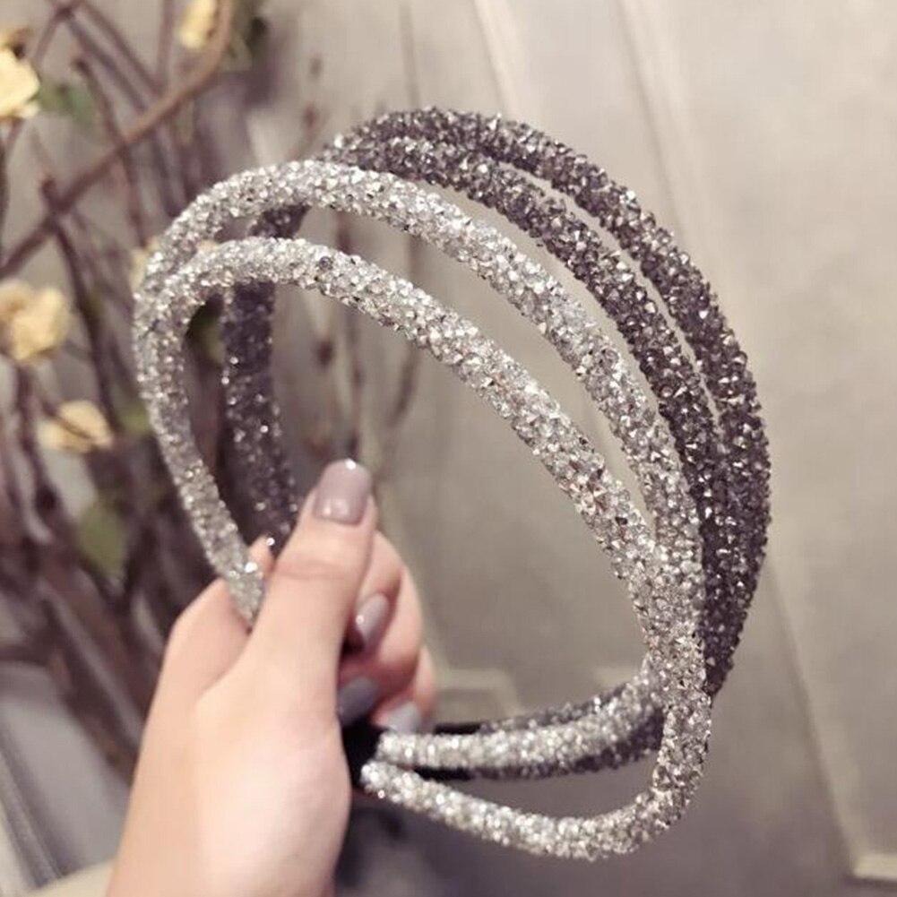2019 New Crystal Headband Luxury Rhinestone Hairband Beads Bezel Hair Hoop Diamond Hair Bands For Women Hair Accessories