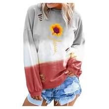 Womens Blouse Fashion Autumn Winter Letter Gradual Long Sleeve T-shirt Round Neck Shirt Blouses