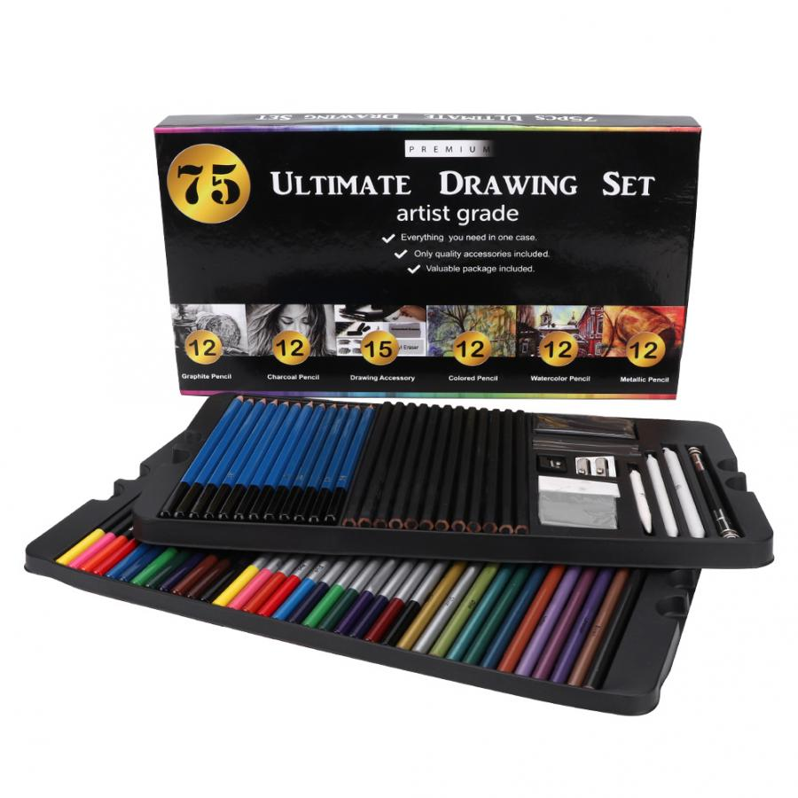 NEW 12 GRADED METALLIC COLOURED PENCIL DRAWING SKETCHING ART ARTIST PICTURE DRAW