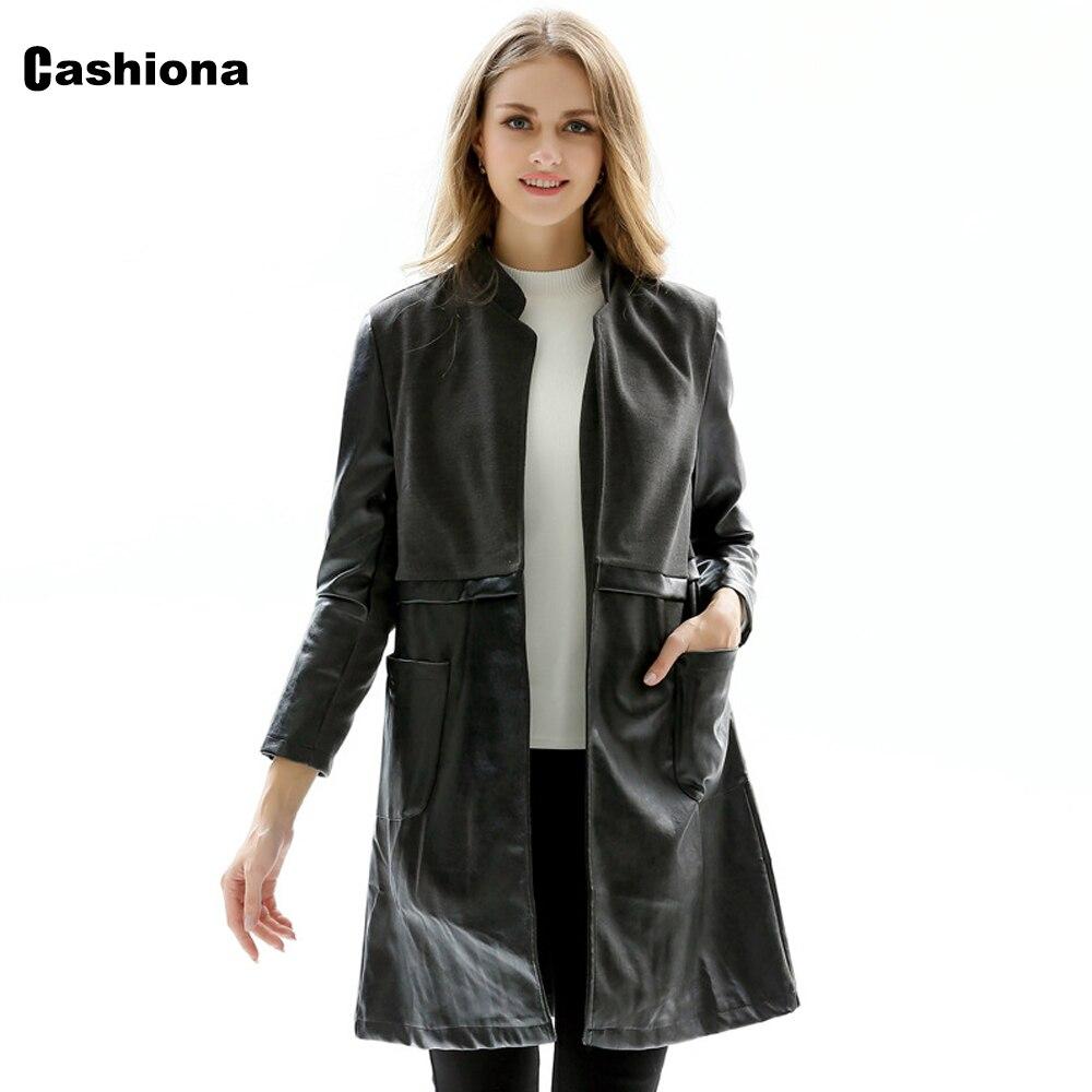 Cashiona Women Pu Leather Jackets 2021 Autumn Long Coat Pocket Open Stitch Outerwear Black Faux Leather Jacket Womens Clothing