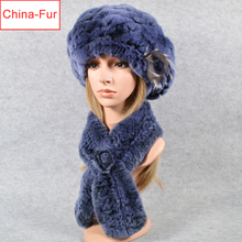 Scarf Hat Rabbit-Fur Knitted Winter Women New-Fashion And Real Poncho Natural Rex