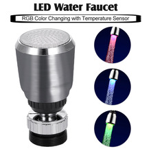 LED Water Faucet Bathroom Water Stream Movable Water Faucet RGB Colors Changing Temperature Control Water Faucet for Kitchen