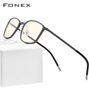 Image 2 - FONEX haute qualité TR90 Anti lumière bleue lunettes hommes lecture lunettes Protection lunettes de jeu ordinateur lunettes pour femmes AB01