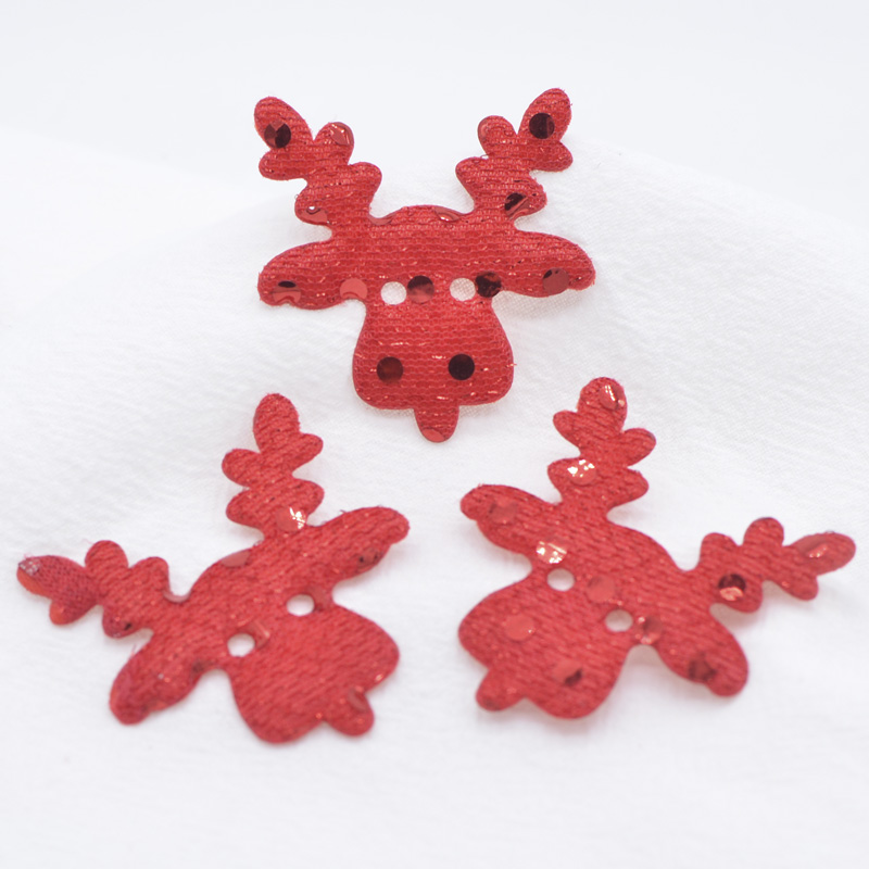 Iridescent Leather Deer Applique 20pcs Padded Christmas Deer Patch For Diy Craft