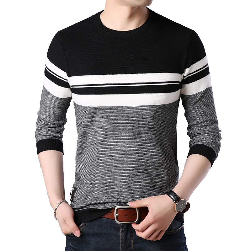TFETTERS 2019 Autumn Casual Men's Sweater Men's O-neck Striped Slim Fit Knittwear Mens Sweaters Pullovers Mens Pullover Neck