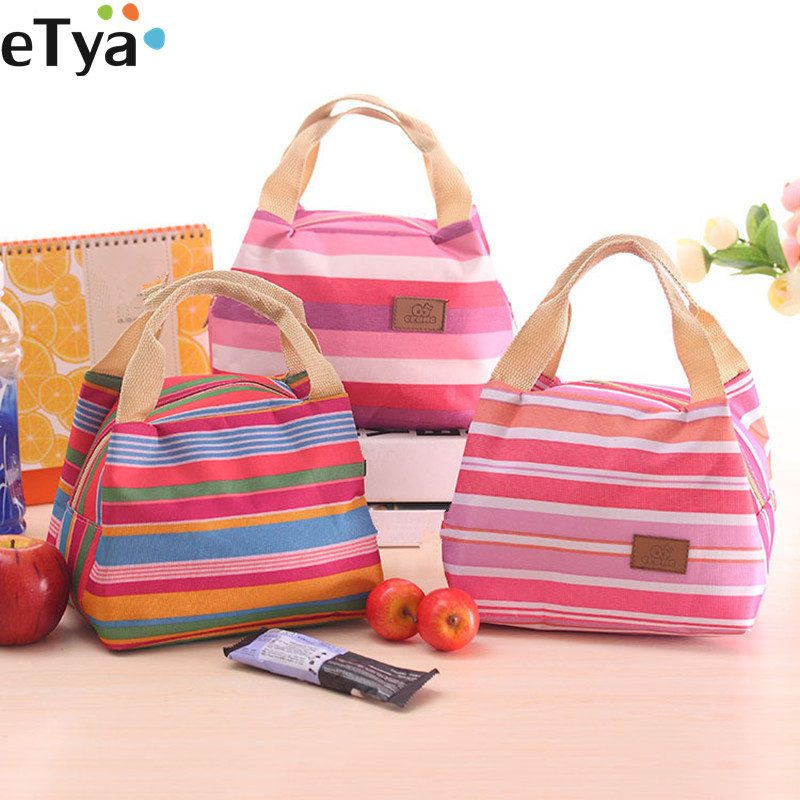 ETya  Insulated Lunch Bag Thermal Stripe Cute Tote Bags Cooler Picnic Food Lunch Box Bag For Kids Women Girls Ladies Man Kids
