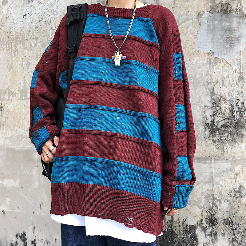 Winter Sweater Men Warm Fashion Contrast Color Casual Knit Sweaters Man Sweter Clothes Loose Striped Hole Pullover Men