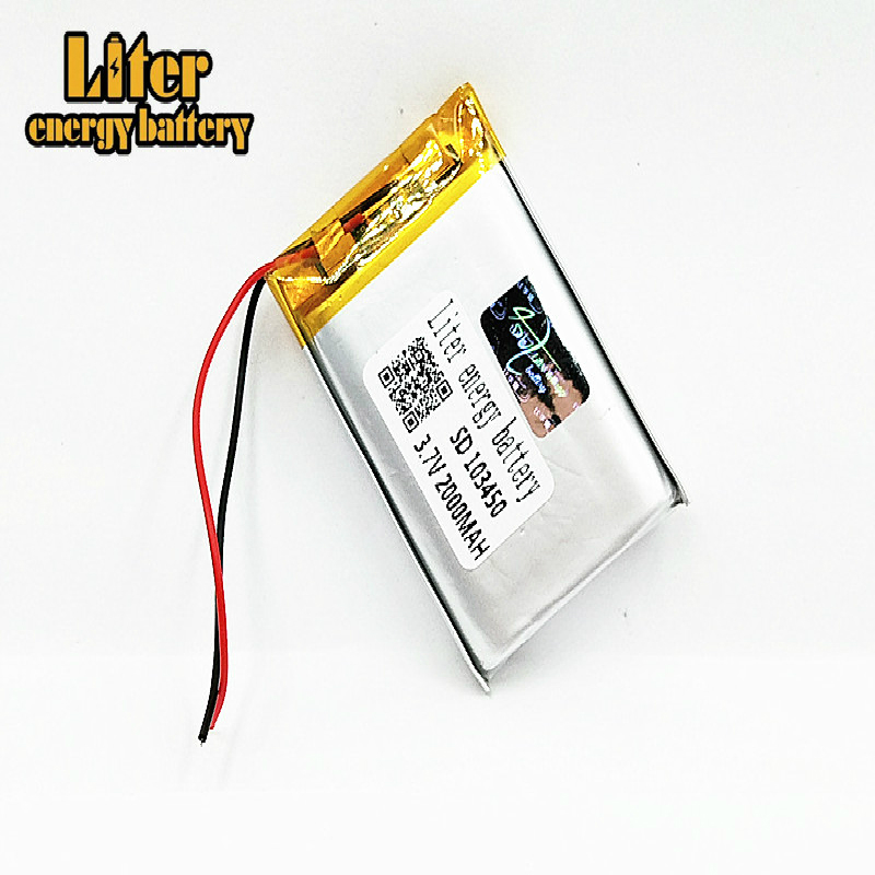 1/2/4Pcs 103450 <font><b>3.7V</b></font> <font><b>2000MAH</b></font> <font><b>lipo</b></font> polymer lithium rechargeable <font><b>battery</b></font> for MP3 GPS navigator DVD recorder headset e-book camera image