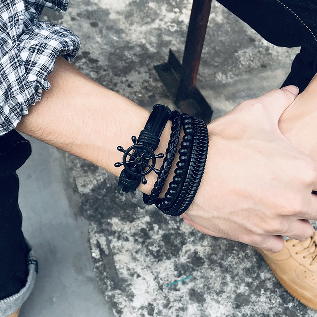 Vnox 3/4Pcs/ Set Braided Wrap Leather Bracelets for Men Vintage Life Tree Rudder Charm Wood Beads Ethnic Tribal Wristbands 4