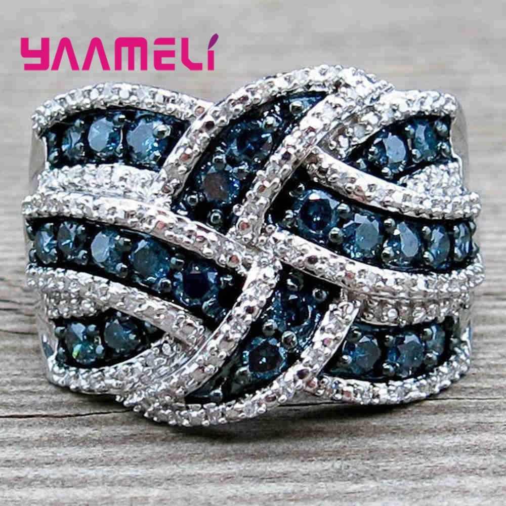 Bague large pour femmes hommes unisexe 925 bijoux en argent Sterling colorisé cubique Zircon pierre avec croix noeud doigt décoration