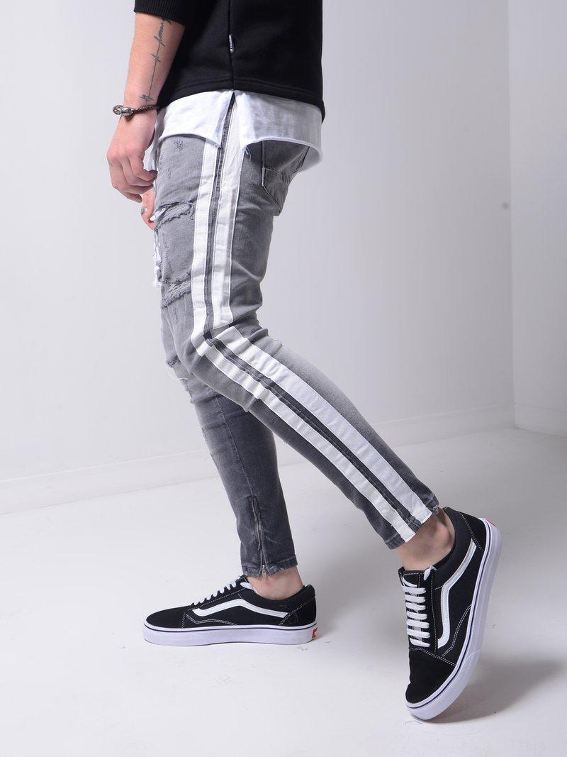 Ripped Pencil Pants Men Skinny Denim Biker Side Striped Jeans Destroyed Hole Hip Hop Slim Fit Man Scratched Jean Hombre Pantalon