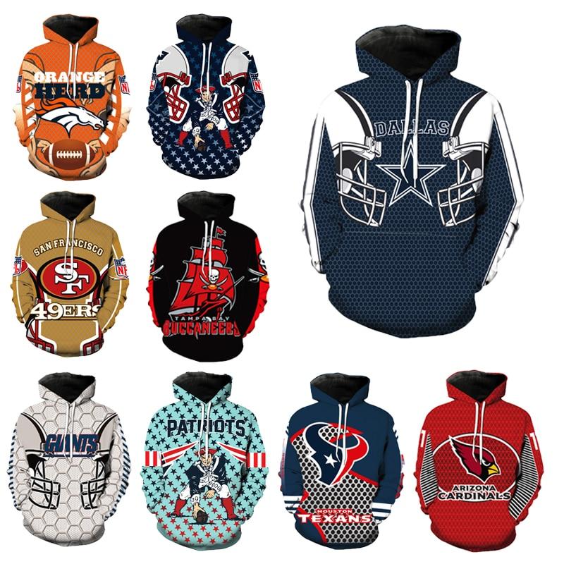 Fashion Dallas Cow boys 3D Hoodie Cool Football Sweatshirt  Hooded Pullove Long Sleeve Sport Hoodie Casual Coat
