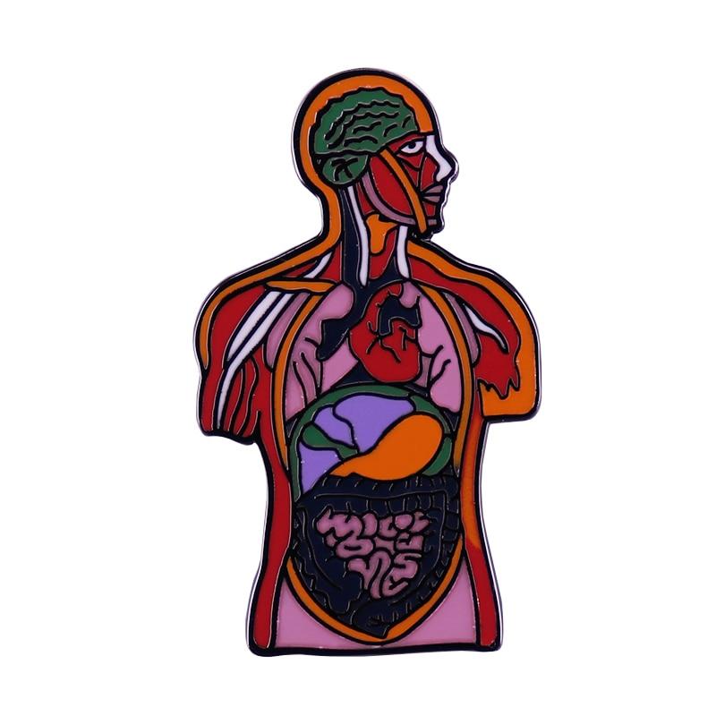 human body system organ Anatomical enamel pin health awareness badge Biological sciences art brooch weird doctor nurse gift