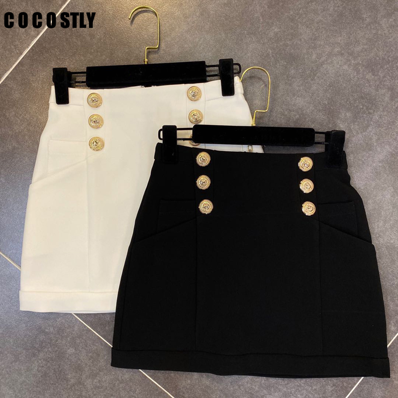 2020 Spring Summer Skirt Women Double Breasted Golden Buttons Package Hip Office Skirts Short Mini Pencil Skirt Women image