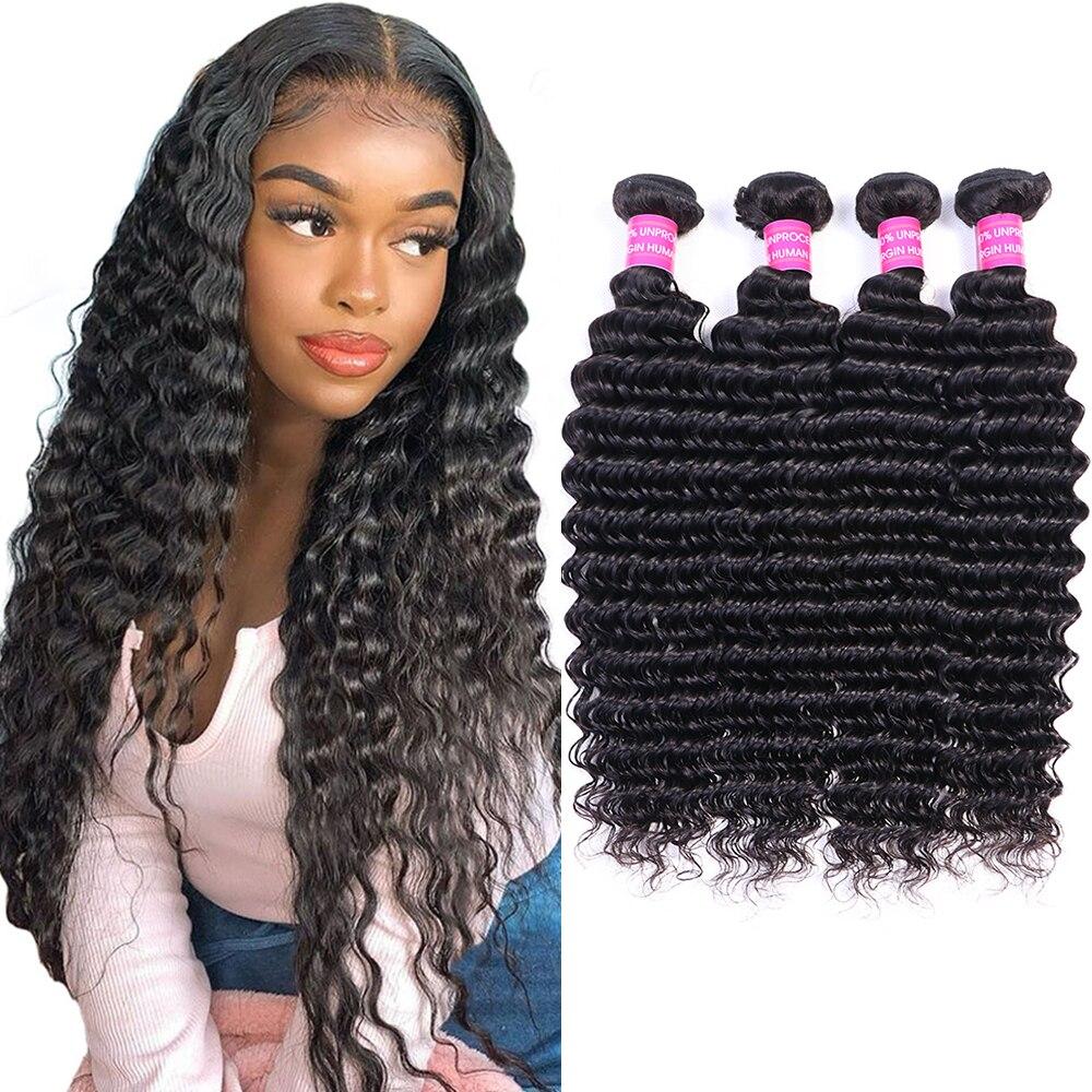Wigmy Brazilian Human Hair Deep Wave 4 Bundles 10A Unprocessed Hair Bundles Curly Wave Bundles Wet and Wavy