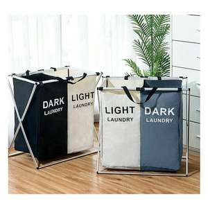 Sorter Organizer Dorm Laundry-Basket Dirty-Clothes X-Shape Foldable Collapsible 2/3-Section