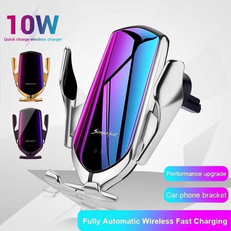 Chargeur sans fil 10W voiture sans fil chargeur support de téléphone portable pour iPhone 11 Samsung Note 10 S10 infrarouge Induction Cargador Inalambrico