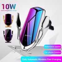 Wirless Ladegerät 10W Auto Wireless-ladegerät Handy Halter Für iPhone 11 Samsung Note 10 S10 Infrarot Induktion Cargador Inalambrico