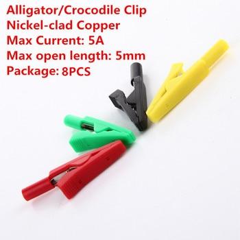 8 Uds AL003B pinza de cocodrilo Terminal de pinza de cocodrilo pinza de Cable de cobre revestido de níquel corriente máxima 5A longitud máxima de apertura 5mm