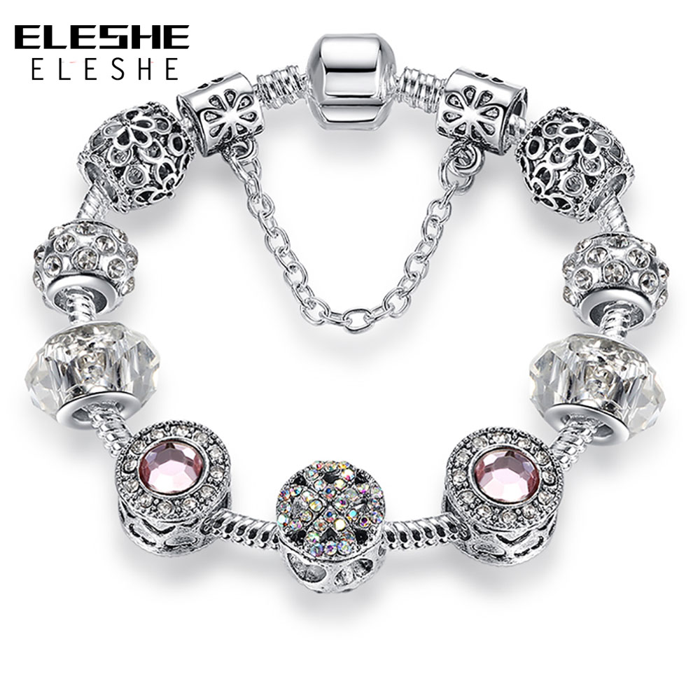 ELESHE Luxury Silver Clear Crystal Forever Love Heart Lucky Clover Charm Bracelet Fit Original Bracelet Bangle Women DIY Jewelry(China)
