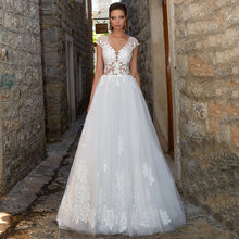 Женское ТРАПЕЦИЕВИДНОЕ свадебное платье элегантное Тюлевое с