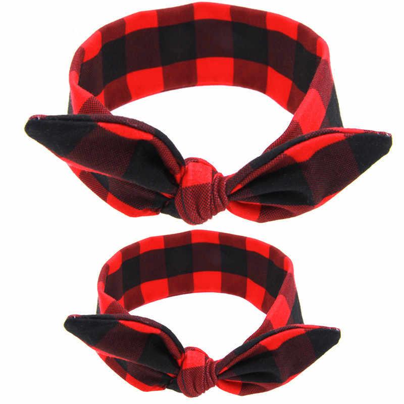 Oeak 2 шт./компл. (Мама + ребенок) заячьи ушки повязка на голову с узлом Бант хлопок аксессуары для волос галстук бант стрейч обруч для женщин для маленьких детей повязка на голову