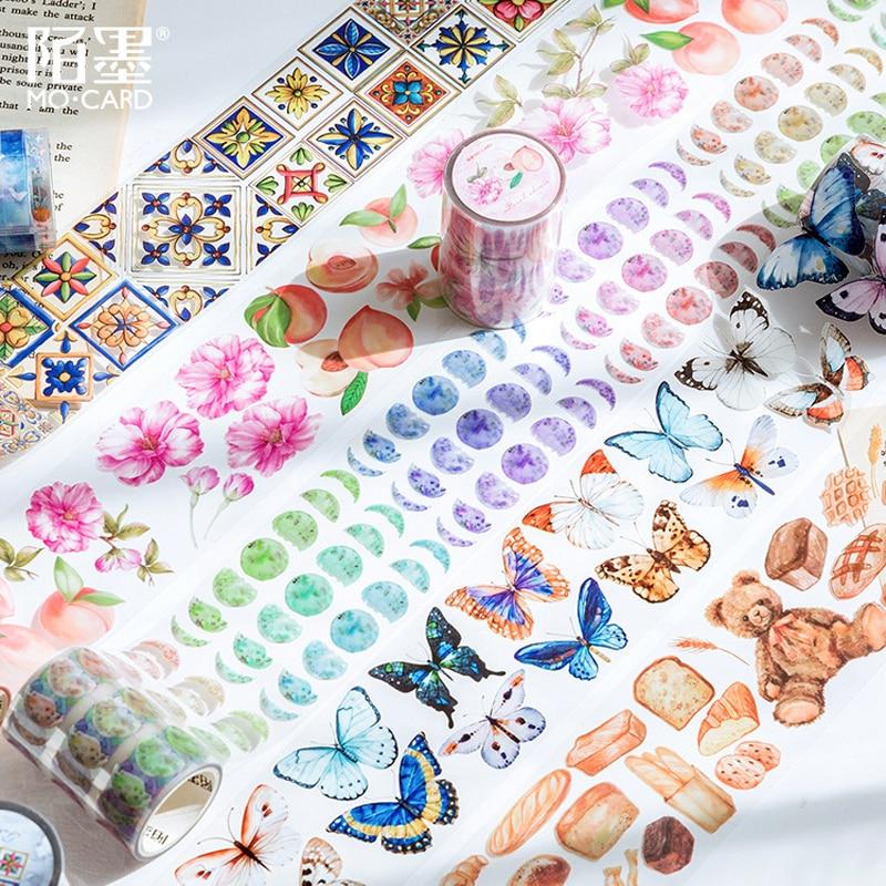 Vintage Washi Tape Pet Transparency Butterfly Flower Tape Scrapbooking Album Diy Handmade Decoration Sticker Maskingtape Paper