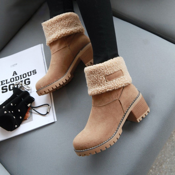 Women's Suede Snow Boots Winter Cotton Shoes High Heeled Shoes  Warm Plush Faux Fur Ankle Boots  Double Wear Plush Thermal Boots 9