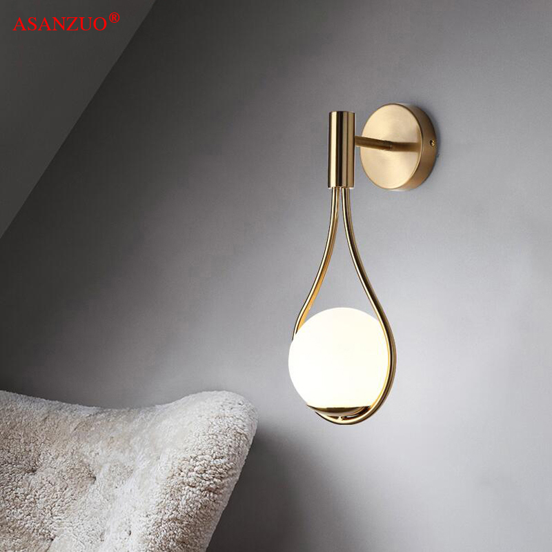 New Nordic creative living room metal wall lamp fashion modern minimalist bedroom bedside lighting aisle