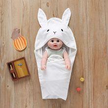 Спальный мешок для малышей, уши симпатичного мультяшного кролика, теплая осенняя одежда для ребенка, который учиться ходить, для младенцев вязаный коляска пеленать Обёрточная бумага гнездо для новорожденных детей