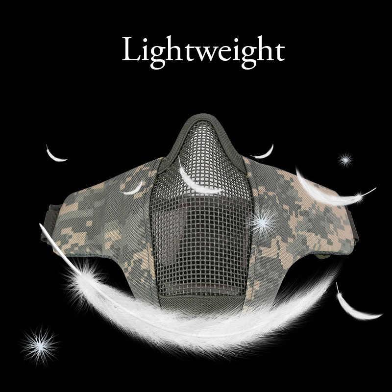 TACVASEN taktik yarım yüz Airsoft maskesi 1000D naylon koruyucu CS savaş oyunu Mesh Airsoft yüz maskeleri askeri ordu saldırı maskeleri