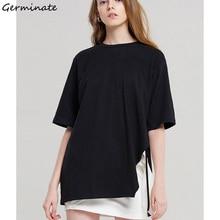 Germinate Baggy Long T Shirt Women Summer aesthetic Tumblr Harajuku Friends Vegan Grunge Vintage Oversized Black Tops Plus Size