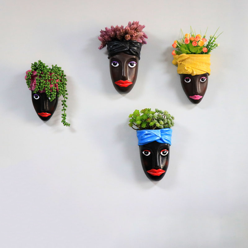 Human Face Creative Flower Pot Decorative Wall Hanging Plant Pot with Imitation Plants Planters for Succulents Hanging Planter|Flower Pots & Planters| |  -