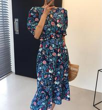 VICONE Women Dresses Summer 2020 Sexy O Neck Floral Print Boho Beach Dress Short Sleeve Midi Sundress