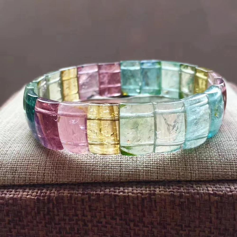 Certificate Natural Colorful Tourmaline Quartz Macaroon Bracelet 13*9*4mm Clear Rectangle Beads Bangle Women Men Brazil AAAAAA