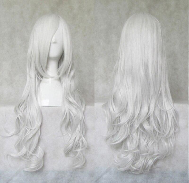 Anjo santuário rociel rosiel 80cm longo prateado branco peruca de cabelo sintético peruca cosplay fibra resistência ao calor + um tampão peruca