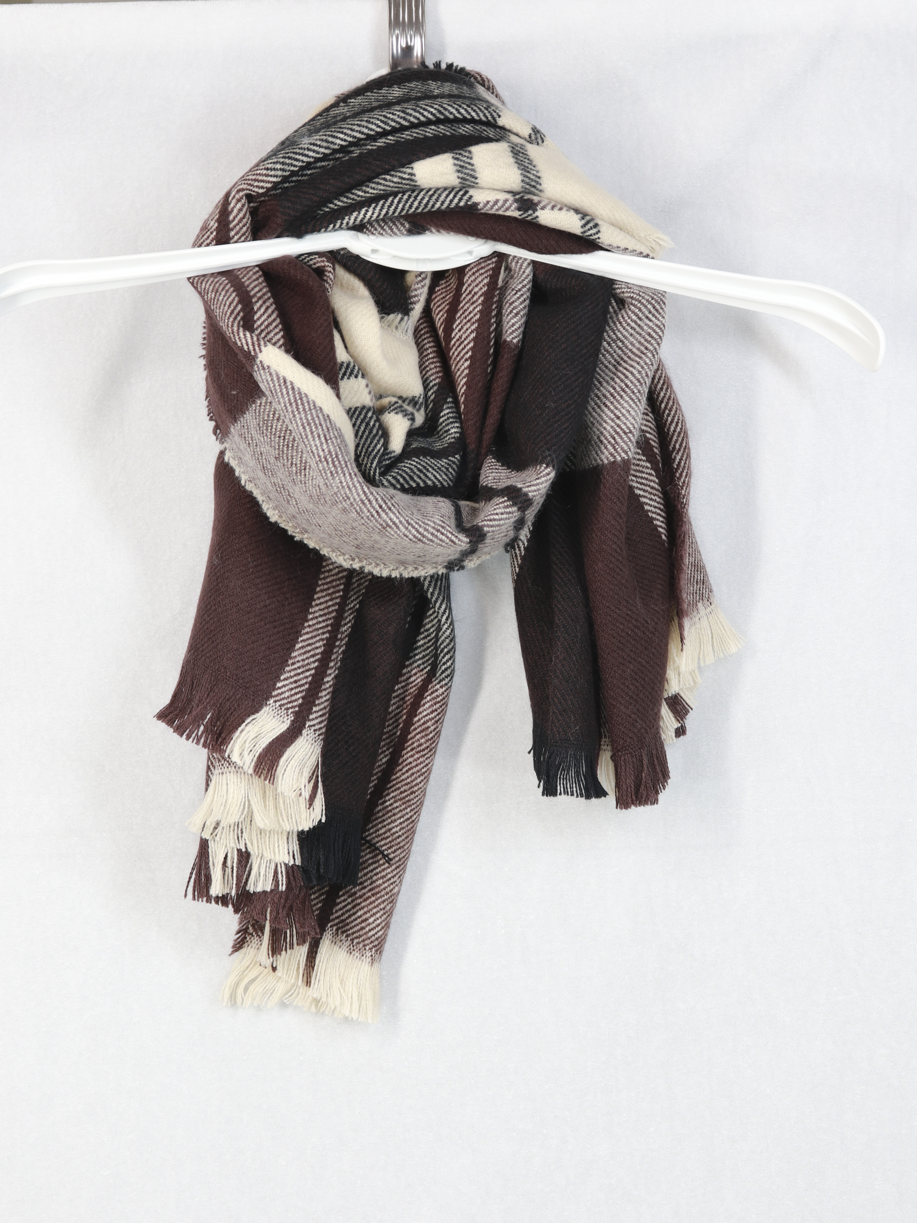 Новый модный шарф-шаль, осенний и зимний женский теплый шарф с бахромой и длинный утолщенный шарф