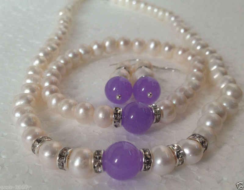 Biżuteria 00999 nowy 7-8mm biały Akoya kulturalna perła/lawenda bransoletka z żadu naszyjnik zestaw kolczyków (A0423)