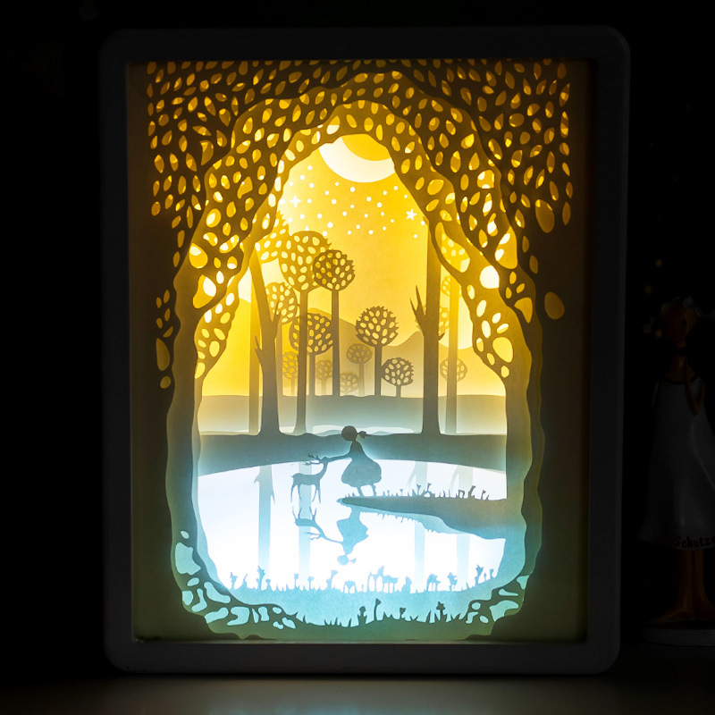 BRIGHTINWD LED Light And Shadow Paper Lamp Meet Innocence  Night Light Personalized Gifts