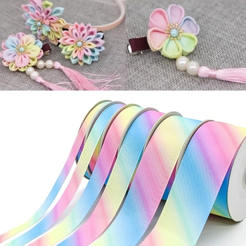 24 Yards Polyester Silk Light Gradient Rainbow Colorful Grosgrain Ribbon for Hair Bows Headbands DIY Craft Gift Wrapping Decor 50 yards gradient rainbow grosgrain ribbon gift box flowers perfume red wine decoration apparel sewing diy bow ribbon