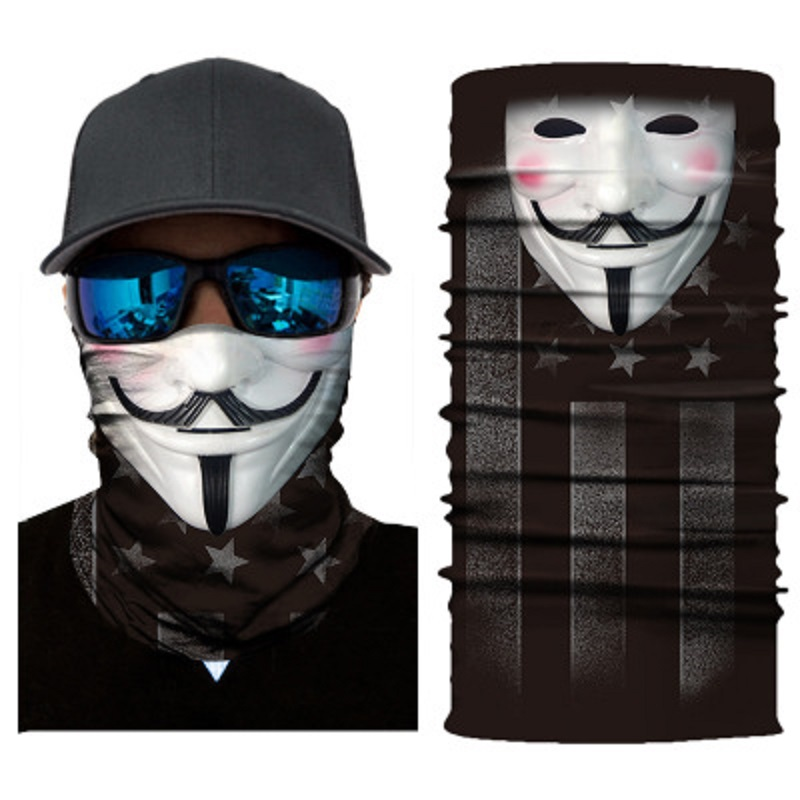 Motorcycle Biker Face Mask Skull Mask Ghost Face Shield Balaclava Head Scarf Neck Masque Halloween Mascara Bandana Moto