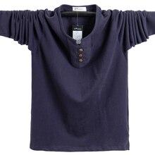 Camisetas de otoño para hombre, Camiseta de algodón de manga larga ajustada, Tops con botones, ropa informal para hombre de talla grande 5XL 2020