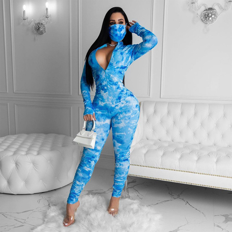 Hirigin Tie Dye Long Sleeve Fall Spring Style Jumpsuit Rompers 2020 Women Deep V-neck Front Zipper Bodycon Jumpsuit Streetwear