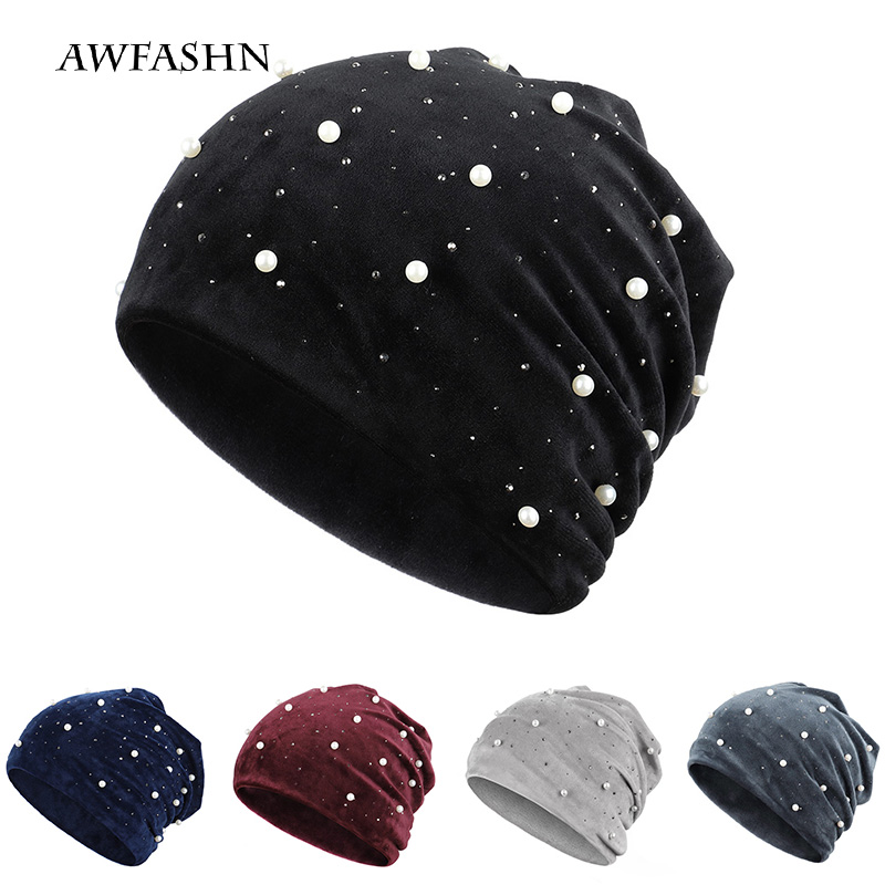 2019 Women's Winter Beanies Soft Warm Shiny Rhinestone Solid Color Women Beanies Pearl Women's Hat Velvet Fabric  Soft  Cap New