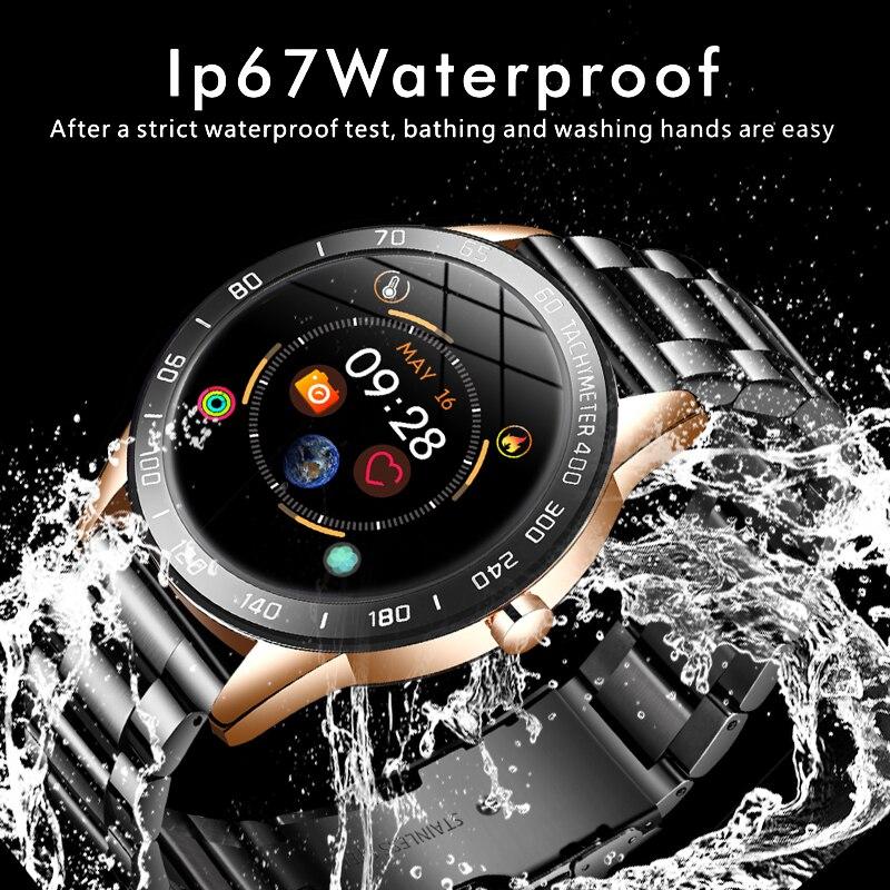 2020 New steel band Men smart watch Waterproof sport for Xiaomi iPhone information Heart rate monitor smartwatch Fitness tracker 3