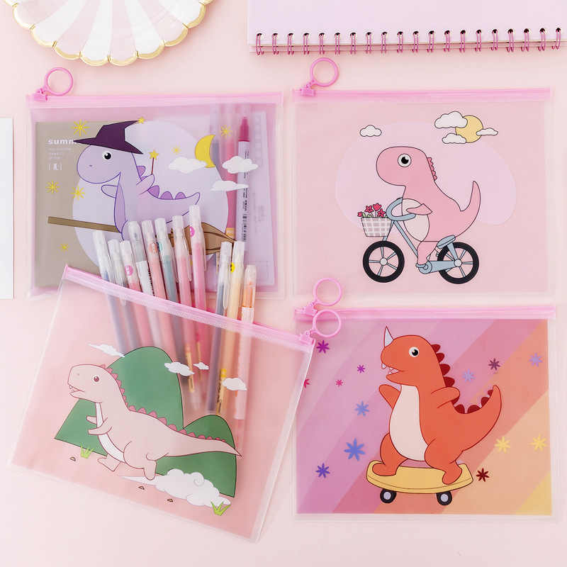 Transparent Dinosaur Cartoon Document Bag File Folder Pencil Case Stationery Holder Organizer Travel Cosmetic Storage Kit Box